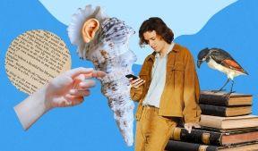 На фото изображен молодой парень смотрящий в телефон, птица стоящая на учебниках, ракушка, человеческая рука и часть газеты