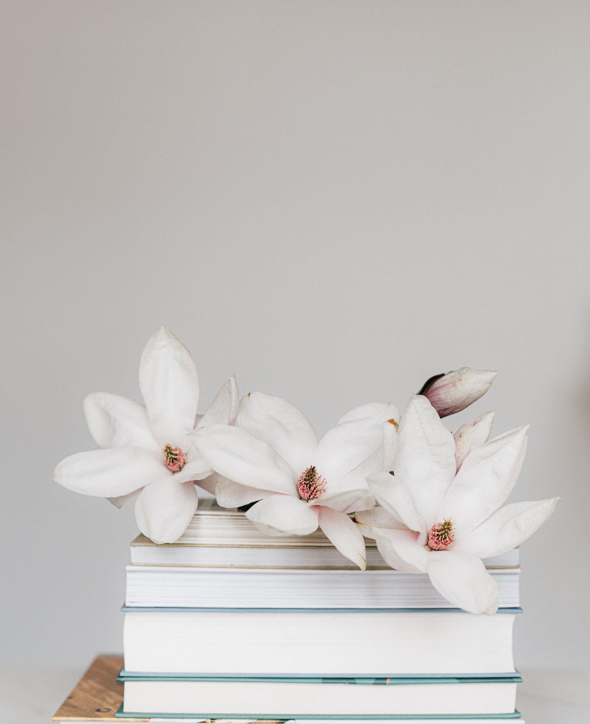 На картинке книги на которых лежат цветы