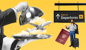 На фото изображен мужчина стоящий в аэропорту с чемоданом и документами, изображен самолет