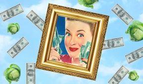 На фото картина на которой изображена девушка держащая в своих руках деньги