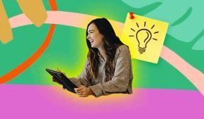 На фото девушка над которой загорелась лампочка хороших идей