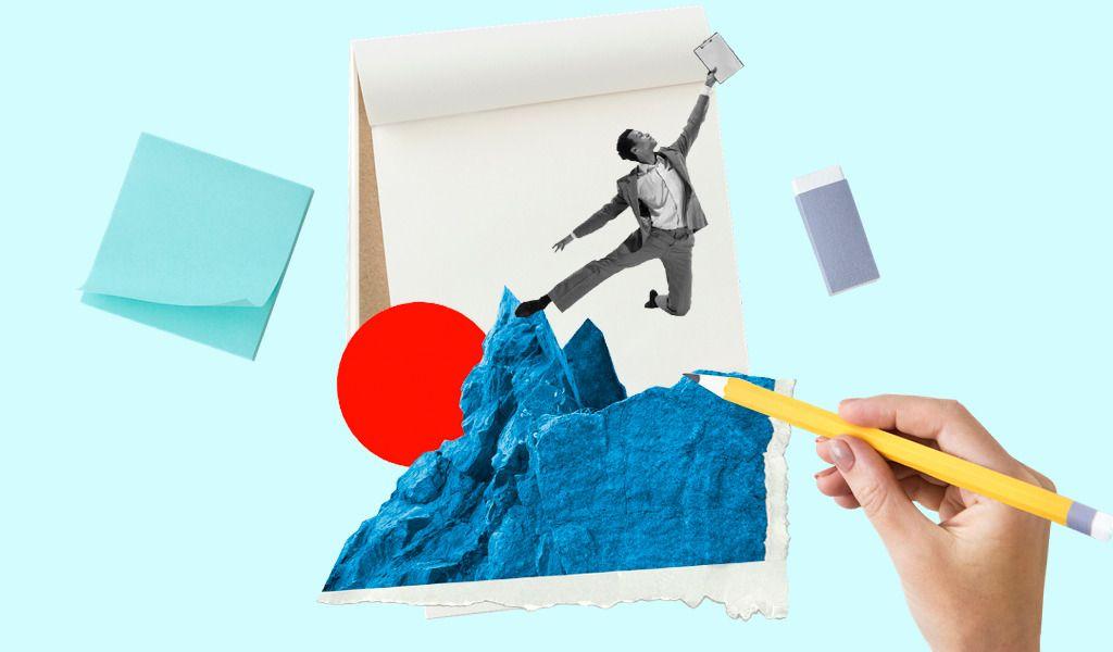На фото изображен рисунок, где молодой человек прыгает