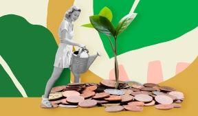 На фото изображена молодая девушка поливающая денежное дерево