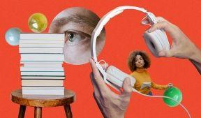 На фото изображен стул на котором лежат книги, изображен человеческий глаз, девушка с воздушным шариком и наушники